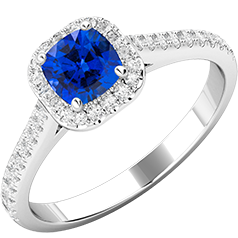 RDS591W-Inel cu Safir si Diamante Dama Aur Alb 18kt cu Safir Central Forma Cushion si Diamante Rotunde Briliant,Stil Halo