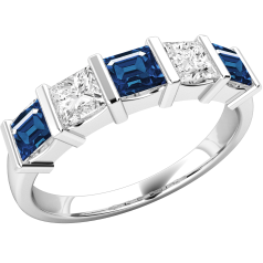 Sapphire and Diamond Eternity Ring for Women in 18ct white gold with 3 square cut sapphires and 2 princess cut diamonds, all in a bar setting