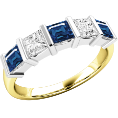 Sapphire and Diamond Eternity Ring for Women in 18ct yellow and white gold with 3 square cut sapphires and 2 princess cut diamonds, all in a bar setting