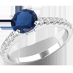 RDS600W-Inel Solitaire cu Safir si Diamante Mici pe Lateral Dama Aur Alb 18kt cu un Safir Rotund Briliant In centru si Diamante Rotund Briliant Mici pe Lateral