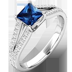 RDS601W-Inel cu Safir si Diamant Dama Aur Alb 18kt cu un Safir Forma Princess si 48 Diamante Rotunde Briliant,Design Clasic