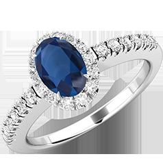 Inel Safir si Diamante Dama Aur Alb 18kt cu un Safir Oval si Diamante Rotunde