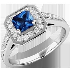 Inel cu Safir si Diamant Dama Aur Alb 18kt cu un Safir Patrat si Diamante Mici Rotund Briliant pe Margini