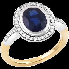 Inel Elegant cu Safir si Diamante Dama Aur Galben si Aur Alb 18kt