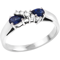 Inel cu Safir si Diamant Dama Aur Alb 18kt cu 2 Safire Forma Para si 5 Diamante Rotunde