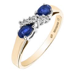 Inel cu Safir si Diamant Dama Aur Galben si Aur Alb 18kt cu 2 Safire Forma Para si 5 Diamante Rotunde