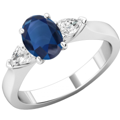 RDS713W-Inel cu Safir si Diamante Dama Aur Alb 18kt un Safir Oval si 2 Diamante Forma Para pe Margini