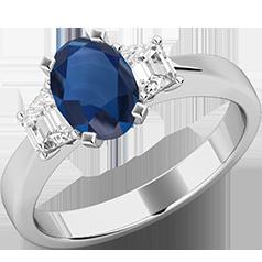 RDS714W-Inel de Logodna cu un Safir si 2 Diamante Dama Aur Alb 18kt cu un Safir Central Forma Ovala si Doua Diamante in Forma de Trapez