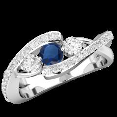Inel cu Safir si Diamant Dama Aur Alb 18kt cu 3 Pietre Centrale si Diamante Laterale