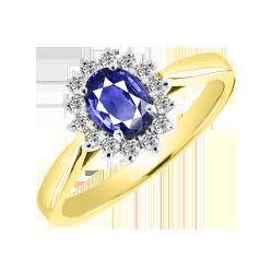 Inel cu Safir si Diamant Dama Aur Galben & Alb 18kt cu un Safir Oval in Centru si Diamante Rotunde in Stoc