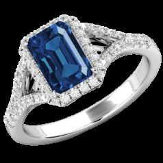 Inel Safir cu Diamante Dama Aur Alb 18kt cu un Safir Central Forma Smarald si Diamante Rotunde Briliant Imprejur,Design Clasic si Elegntă Pură