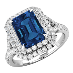Inel cu Safir si Diamante Dama Aur Alb 18kt cu un Safir Central Taietura Smarald si Diamante Mici Rotund Briliant Imprejur si pe Lateral