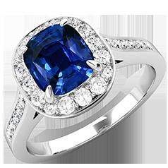 RDS743W-Inel cu Safir si Diamant Dama Aur Alb 18kt cu un Safir Cushion Cut si Diamante Rotund Briliant Imprejur si pe Margini