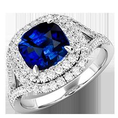 RDS744W-Inel Cocktail/Inel cu Safir si Diamante Dama Aur Alb 18kt cu un Safir Central Cushion Stil Dublu Halo