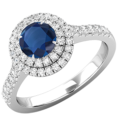 RDS761W-Inel Dama Aur Alb 18kt cu Safir si Diamante, Stil Halo,Design Clasic,Eleganta Moderna