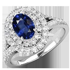 RDS762W-Inel Cocktail/Inel cu Safir si Diamante Dama Aur Alb 18kt cu un Safir Central Oval si Diamante Mici Rotund Briliant