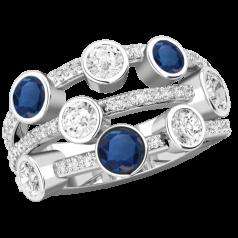 RDS770W-Inel cu Safir si Diamant Dama Aur Alb 18kt cu 5Diamante Rotund Briliant si 3Safire Rotunde in Setare Rub Over, Inel Cocktail