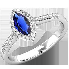RDS778W-Inel Cocktail/Inel cu Safir si Diamante Dama Aur Alb 18kt cu Safir Forma Marchiza si Diamante Rotunde Mici