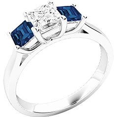 RDSS462W-Inel cu Diamant si Safir Dama Aur Alb 18kt cu un Diamant Taietura Princess in Mijloc si Safir Taiat Patrat pe Fiecsre Parte,Design Claisc si Simplu