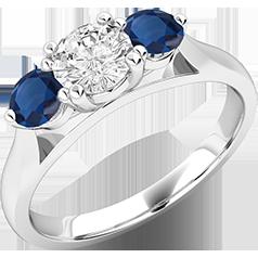 RDSS491W-Inel cu Diamant si Safir Dama Aur Alb 18kt cu un Diamant si 2 Safire Rotund Briliant in Setare Gheare,Stil Clasic