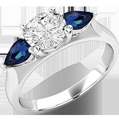 RDSS528W-Inel cu Diamant si Safir Dama Aur Alb 18kt cu un Diamant Rotund Brilliant in Mijloc si 2 Safire in Forma de Para pe Margini