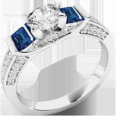 RDSS554W-Inel cu Safir si Diamante Dama Aur Alb 18kt,un Diamant Central Rotund Briliant,Safire Princess pe Lateral si Diamante Mici Rotund Briliant pe Margini