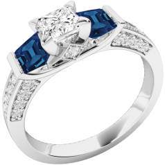 Inel cu Safir si Diamante Dama Aur Alb 18kt cu 1Diamante si 2Safire Princess si Diamante Rotund Briliant pe Margini