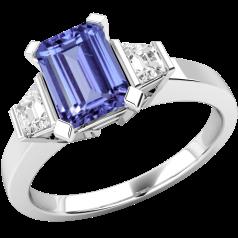 RDT279W-Inel cu Tanzanit si Diamant Dama Aur Alb 18kt cu un Tanzanit Tăietura Smarald si 2 Diamante Trapez cu un Decor Tradițional de Gheare
