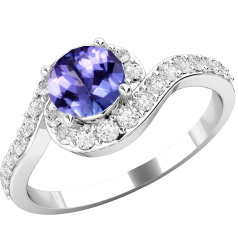 Tanzanite and Diamond Ring for Women in 18ct white gold with a round Tanzanite centre surrounded by round brilliant cut diamonds, all in a claw setting