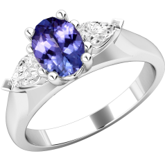 Tanzanite and Diamond Ring for Women in 18ct white gold with an oval tanzanite and 2 pear shaped diamonds