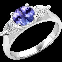 Tansanit und Diamant Ring für Dame in 18kt Weißgold mit einem runden Tansanit und 2 Tropfen Schliff Diamanten in Krappenfassung