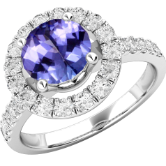 Tanzanite and Diamond Cluster Ring for Women in 18ct white gold with a round tanzanite centre surrounded by round brilliant cut diamonds, Halo style