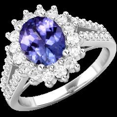 Inel cu Tanzanit si Diamant Dama Aur Alb 18kt cu un Tanzanit Oval in Centru si Diamante Rotunde in Jur Setate cu Gheare
