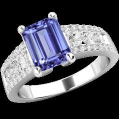 Inel cu Tanzanit si Diamant Dama Aur Alb 18kt cu un Tanzanit Taietura Smarald si Diamante Rotund Briliant in Setare Canal si Gheare