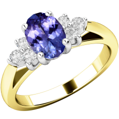 Tanzanite and Diamond Ring for Women in 18ct yellow and white gold with an oval tanzanite centre, and a cluster of 3 round brilliant cut diamonds on either side, all in a claw setting