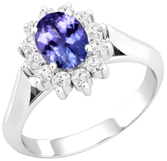 Tanzanite and Diamond Cluster Ring for Women in 18ct white gold with an oval tanzanite centre surrounded by round brilliant cut diamonds, all in a claw setting