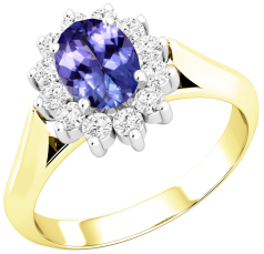 Tanzanite and Diamond Cluster Ring for Women in 18ct yellow and white gold with an oval tanzanite centre surrounded by round brilliant cut diamonds, all in a claw setting