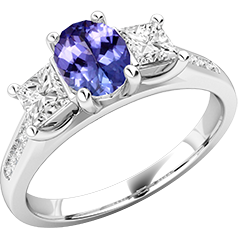 RDT568W-Inel cu Tanzanit si Diamant Dama Aur Alb 18kt cu un Tanzanit Oval si 2 Diamante Princess in Setare Gheare,Stil Elegant
