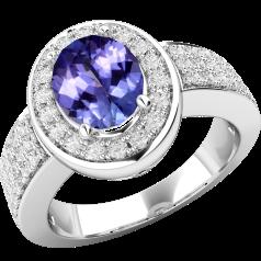 Inel cu Tanzanit si Diamant Dama Aur Alb 18kt cu un Tanzanit Oval si Diamante Mici Rotund Briliant Imprejur si Lateral