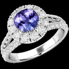 RDT571W-Inel cu Tanzanite si Diamant Dama Aur Alb 18kt cu un Tanzanit Rotund si Diamante Mici Rotund Briliant Imprejur si pe Margini,Design Clasic,Eleganță Modermă