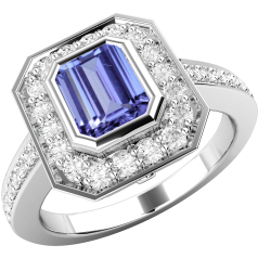 Tanzanite and Diamond Cluster Ring for Women in 18ct white gold with an octagon tanzanite centre in rub-over setting, and round brilliant cut diamonds in claw setting surrounding it