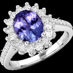 Inel cu Tanzanit si Diamant Dama Aur Alb 18kt cu un Safir in Forma Ovala in Centru si Diamante Mici Rotund Briliant Imprejur si pe Margini,Eleganță Modernă