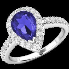 RDT620W-Inel cu Tanzanite si Diamant Dama Aur Alb 18kt cu un Tanzanite in Centru in Forma Para si 30 Diamante Mici Rotunde Brilliant