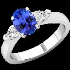 RDT713W-Inel cu Tanzanit si Diamant Dama Aur Alb 18kt cu un Tanzanit Oval si 2 Diamante Forma Para