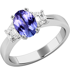 Inel de Logodna cu Tanzanit si 2 Diamante Dama Aur Alb 18kt cu un Tanzanit Central Forma Ovala si Doua Diamante in Forma de Trapez