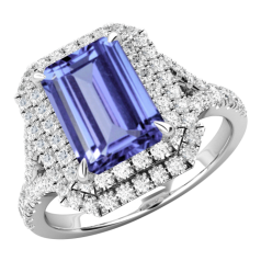 RDT742W-Inel cu Tanzanite si Diamante Dama Aur Alb 18kt cu un Tanzanite Central Taietura Smarald si Diamante Mici Rotund Briliant Imprejur si pe Lateral