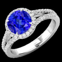 RDT747W-Inel cu Tanzanit si Diamant Dama Aur Alb 18kt cu un Tanzanit Rotund Briliant si Diamante Mici Rotund Briliant Imprejur si Lateral