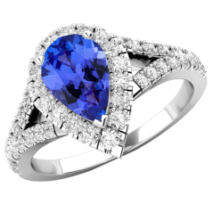 RDT751W-Inel cu Tanzanite si Diamante Dama Aur Alb 18kt cu un Tanzanite Central in Forma de Para si Diamante Mici Rotund Briliant pe Margini