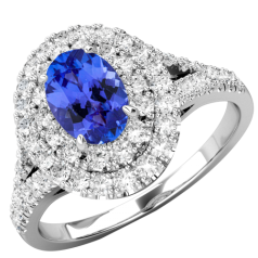 RDT762W-Inel Cocktail/Inel cu Tanzanite si Diamante Dama Aur Alb 18kt cu un Tanzanite Central Oval si Diamante Mici Rotund Briliant
