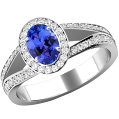 RDT774W-Inel cu Tanzanite si Diamante Dama Aur Alb 18kt cu un Tanzanite Central Oval si Diamante Mici Rotund Briliant Imprejur si pe Margini